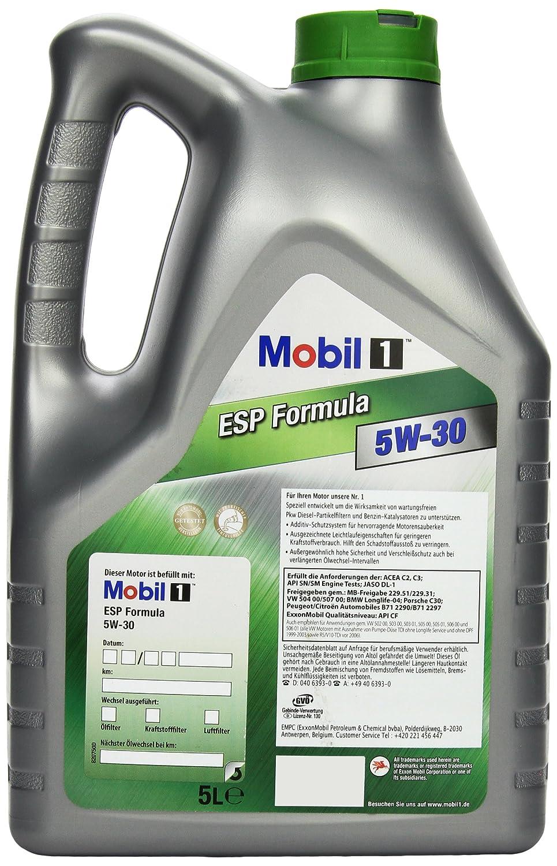 Amazon fr mobil 1 esp formula 151055 5w30 fully synthetic motor oil 5l