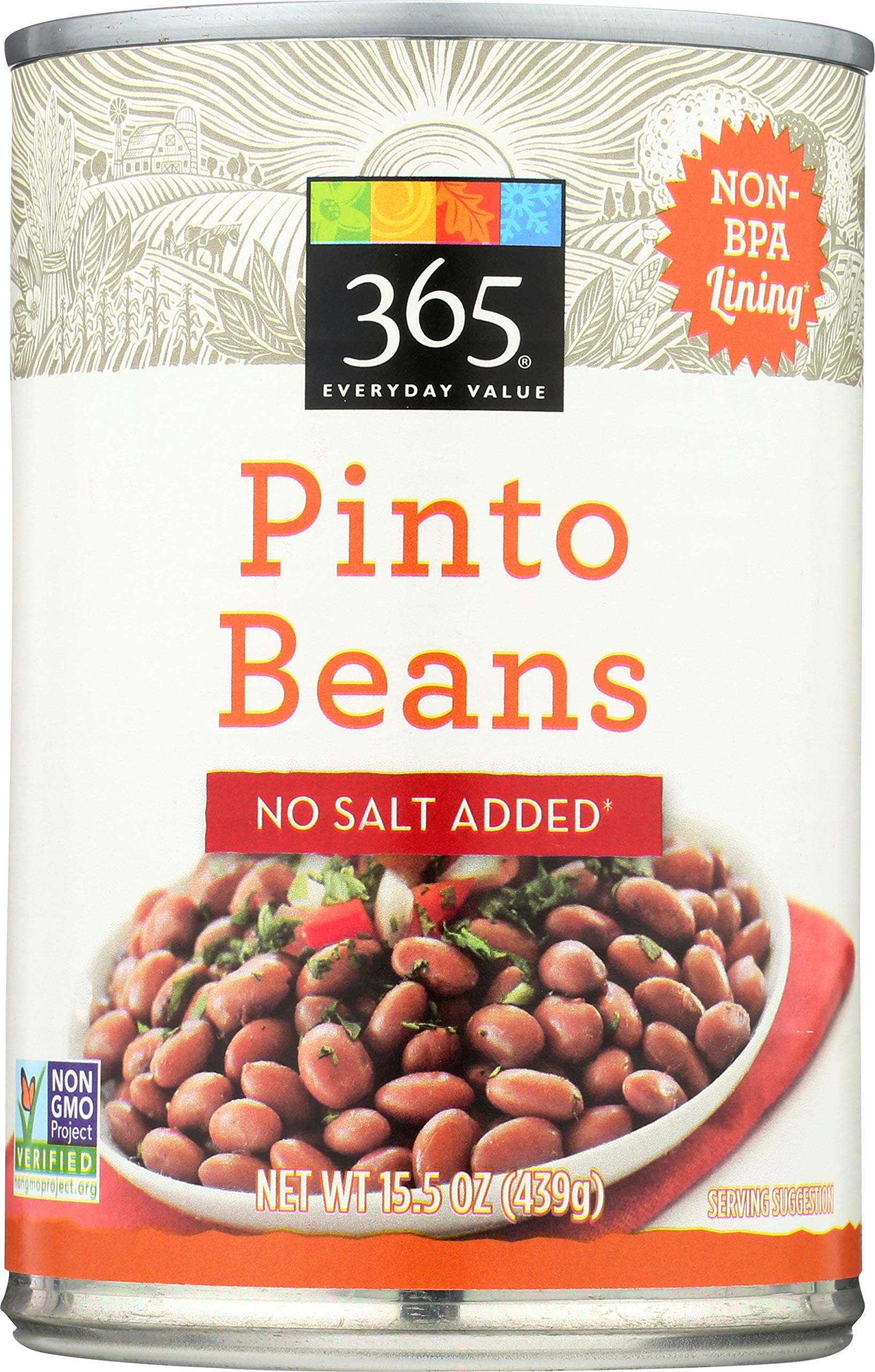 365 Everyday Value, Pinto Beans No Salt Added, 15.5 Ounce