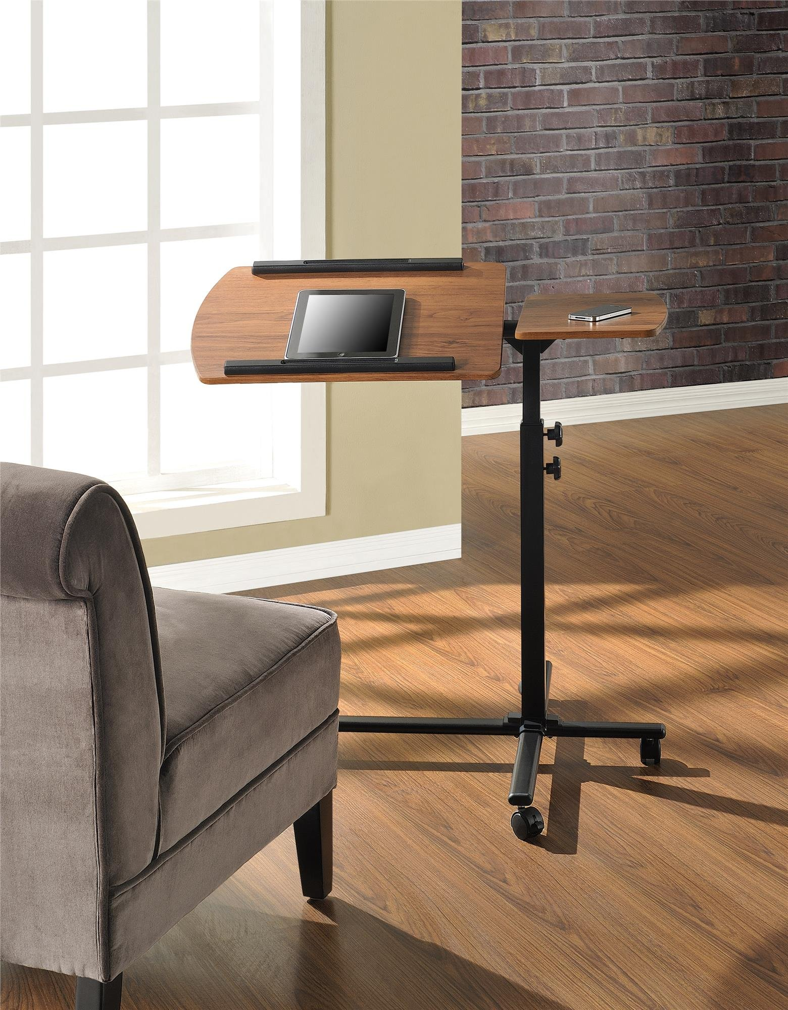 Altra Furniture Rowan Laptop Cart, Cherry/Black