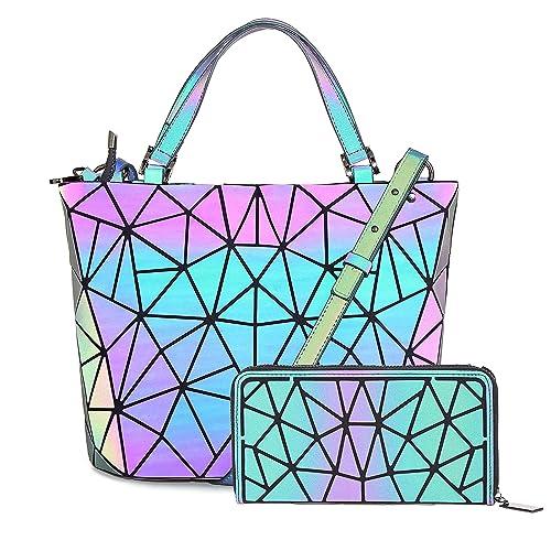 ff78c4d82bd5 HotOne Geometric Purse Holographic Purse and Handbag Color Changes Luminous  Purse for Women