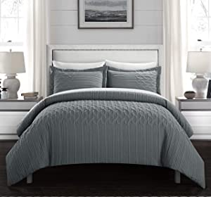 Chic Home Jazmine 2 Piece Comforter Set Embossed Embroidered Quilted Geometric Vine Pattern Bedding - Pillow Sham Included, Twin, Grey