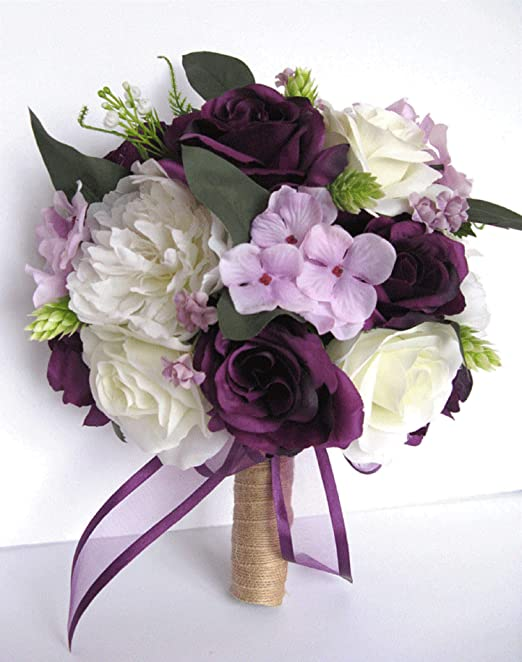 Amazon Com Wedding Bouquet 17 Piece Bouquet Set Bridal Flowers