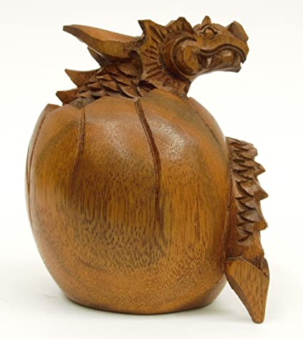 Brown Dragon Egg Hatching Dragon Hand Carved Wooden Sculpture Figurine Statue Gift Small As Exotic And Unique Table Decoration Home Decor Ooak