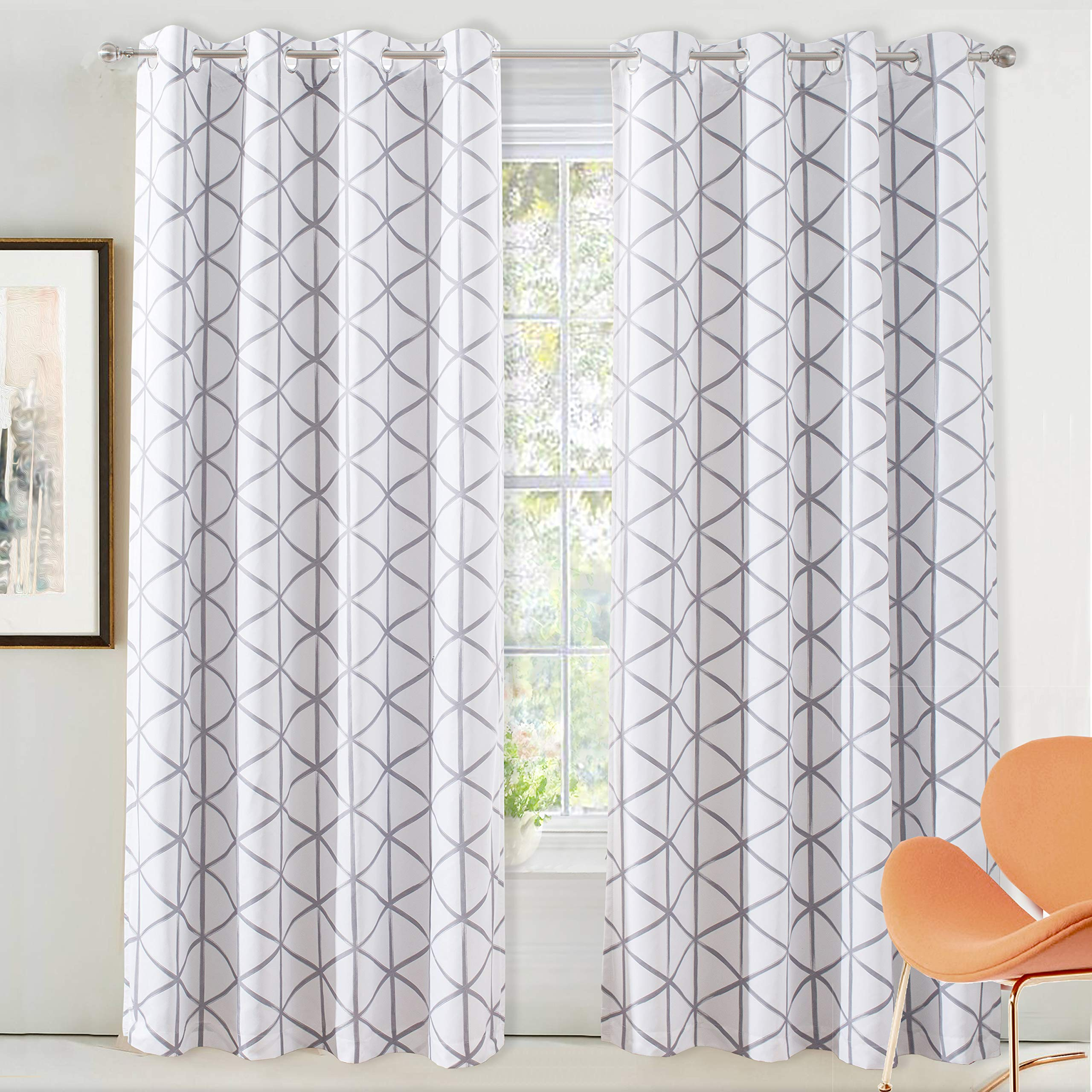 DriftAway Raymond Geometric Triangle Trellis Pattern Lined Thermal Insulated Blackout Grommet Energy Saving Window Curtains 2 Layers 2 Panels Each 52 Inch by 84 Inch Soft White and Gray by DriftAway