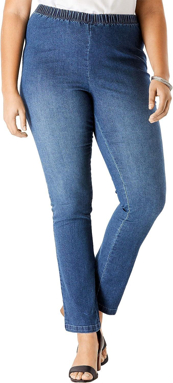 Roamans Womens Plus Size Petite Straight-Leg Pull-On Stretch Jean