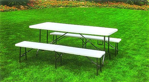 Juego de mesa de camping plegable de jardín con 2 panche de metal y PVC blanco: Amazon.es: Jardín