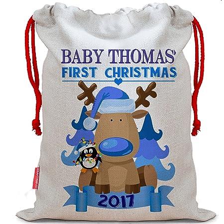 Personalised Baby Boy My 1st Christmas Christmas Sack Stocking Xmas Present  Bag Santa Mail Post NS003   LG    Amazon.co.uk  Kitchen   Home 32cb5b671