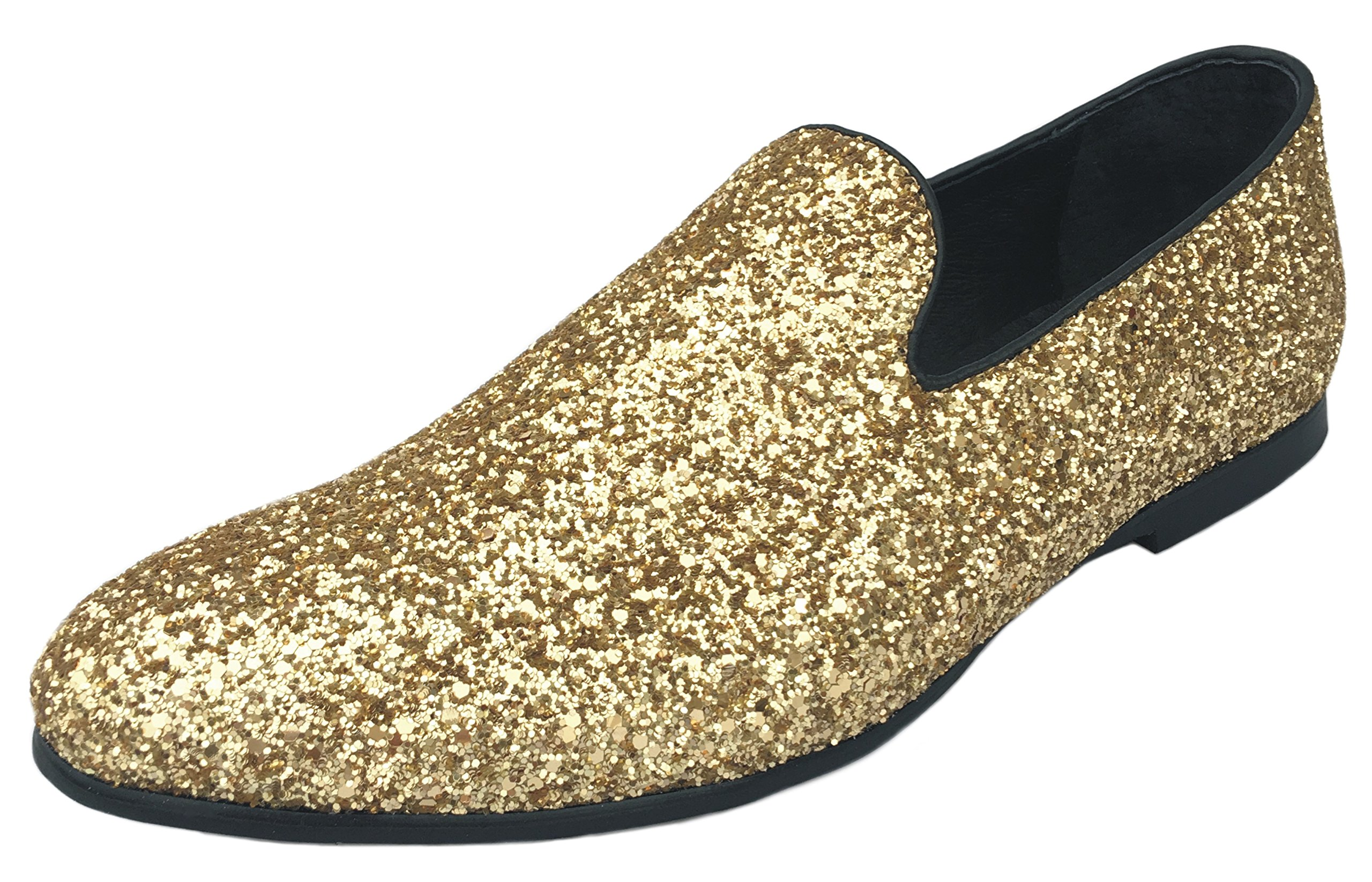 Justar Men's Metallic Glitter Sequins Loafers Dress Shoes Tuxedo Slip On Smoking Slippers Gold Silver Blue (10 D(M) US, Gold)