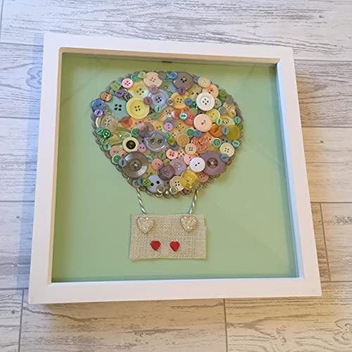 Hot Air Balloon Button Art In Large Frame 12x12 New Baby Gift