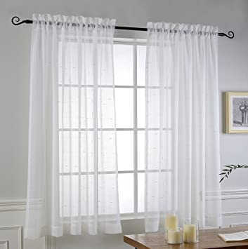 Short Sheer Curtains For Bedroom By MYSKY HOME Rod Pocket Faux Linen Voile  Window Curtains For