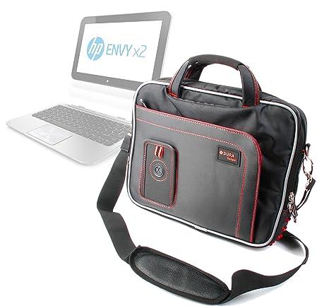 Duragadget-Bolso bandolera de Nylon negro/rojo para ordenador portátil HP Envy x2 Convertible