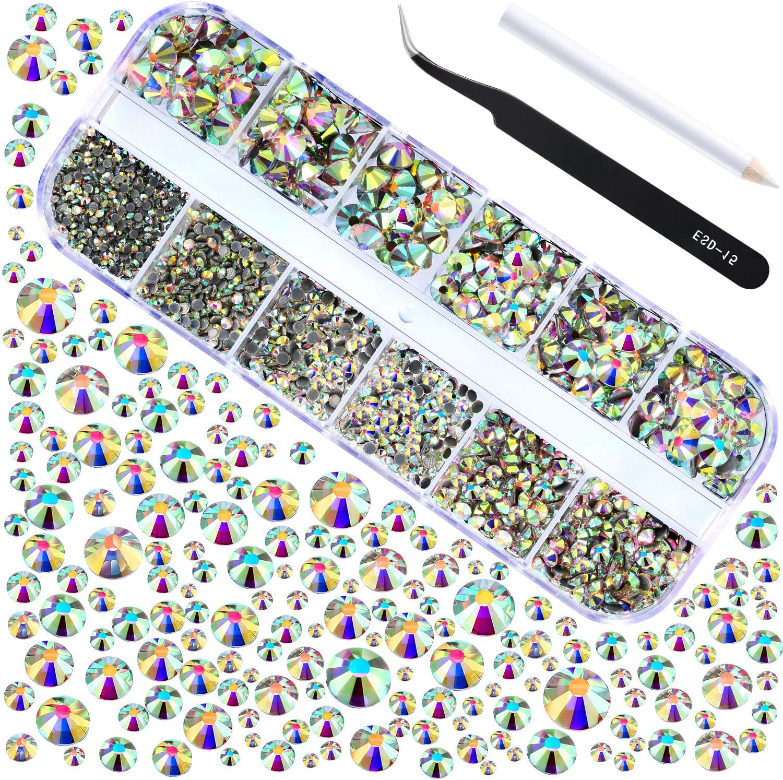 2000 Piezas de Diamantes de Imitación de Espalda Plana de Vidrio Hot Fix Gemas Cristales Redondas 1,5-6 MM (SS4-SS30) en Caja de Almacenamiento con Pinzas y Bolígrafos de Diamantes(Cristal AB)