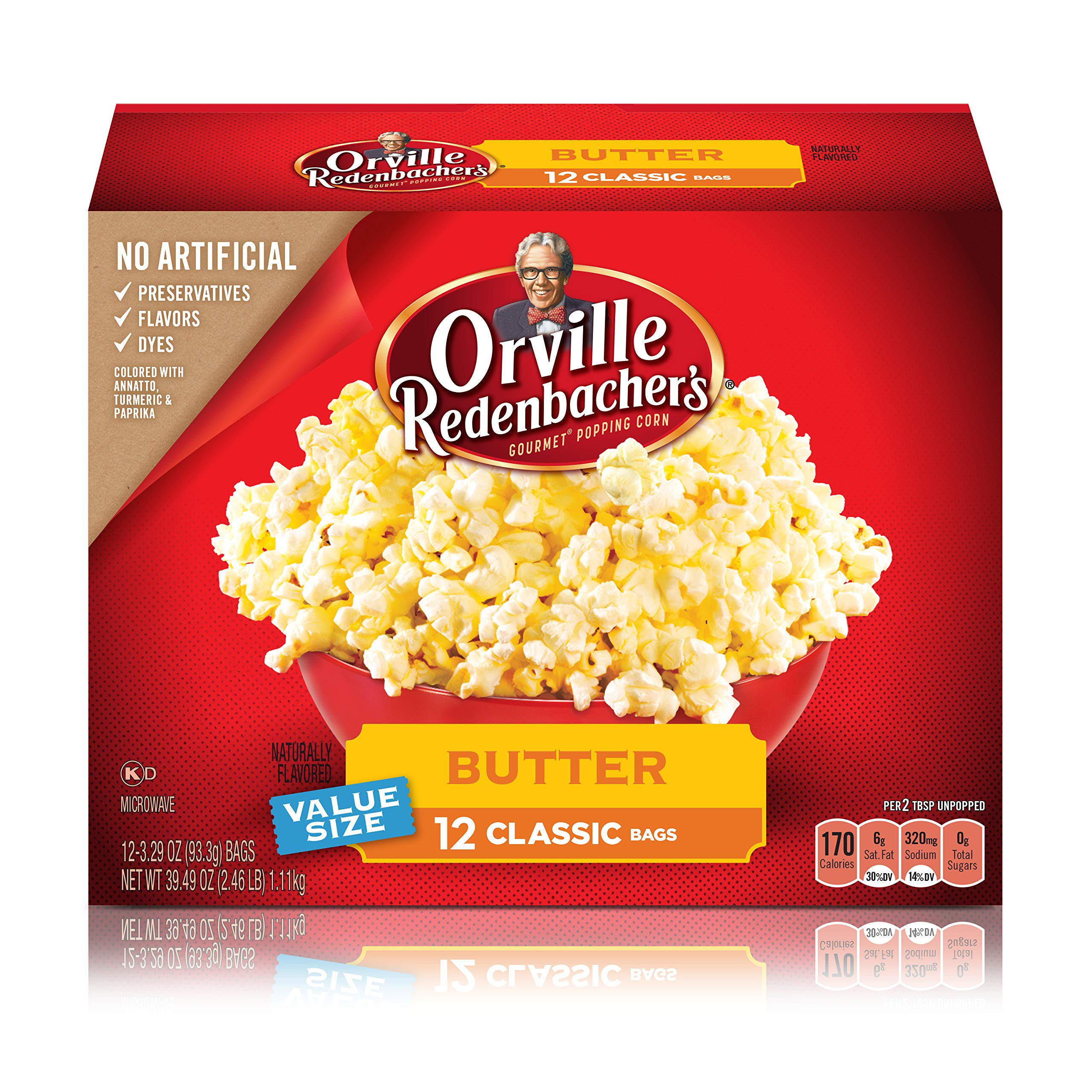 Orville Redenbacher's Butter Popcorn, 3.29 Ounce Classic Bag, 12-Count, Pack of 6