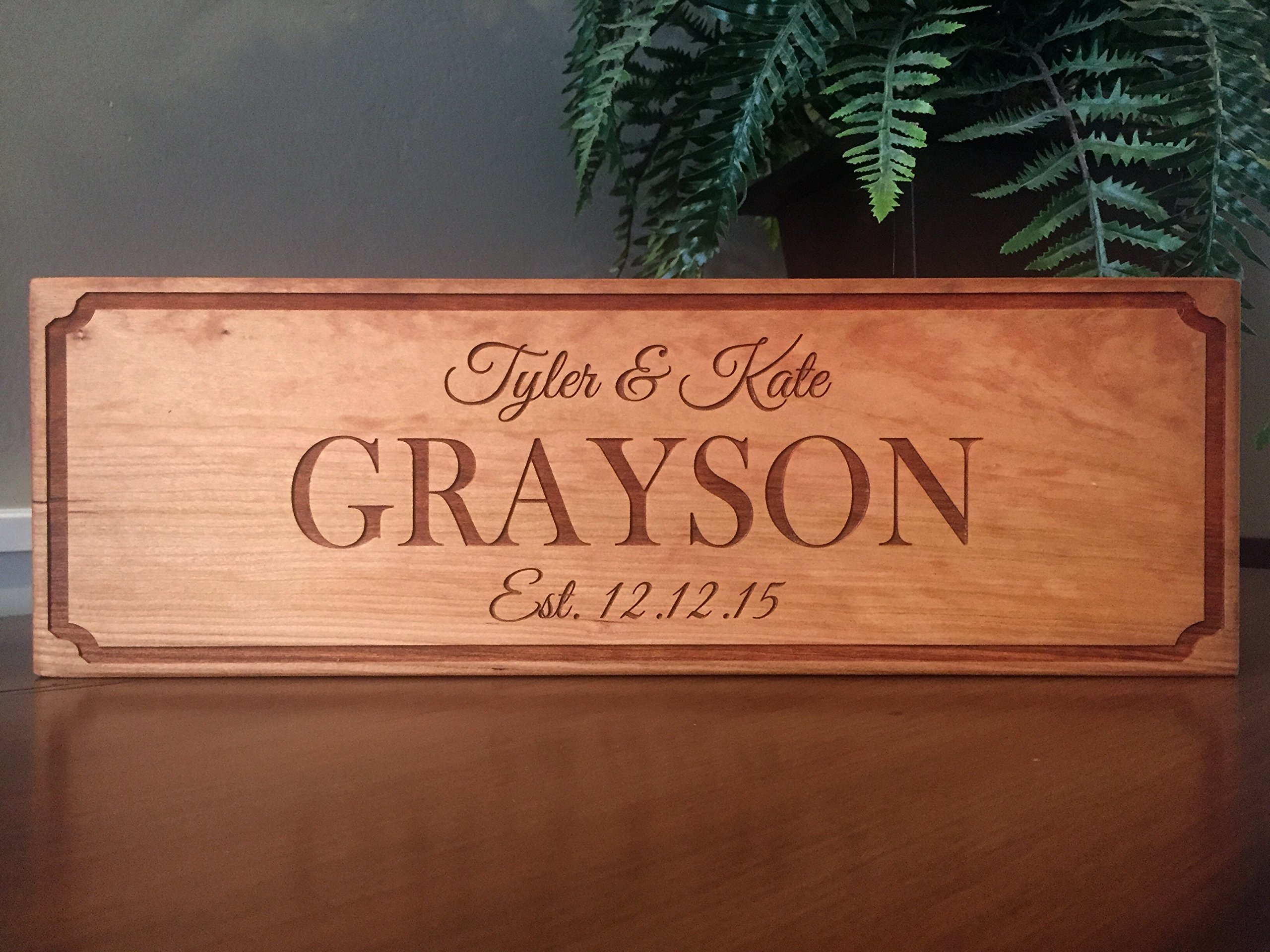 Qualtry Wedding Gifts for The Couple - Personalized Engraved Wedding Gifts Wooden Family Name Signs 5x15 (Cherry Wood, Grayson Design)