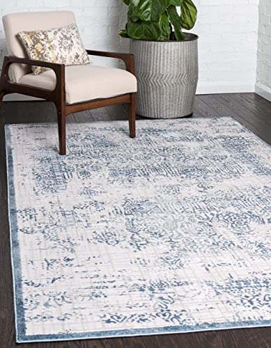 Unique Loom Aberdeen Collection Textured Traditional Vintage Blue Area Rug 9 0 x 12 0