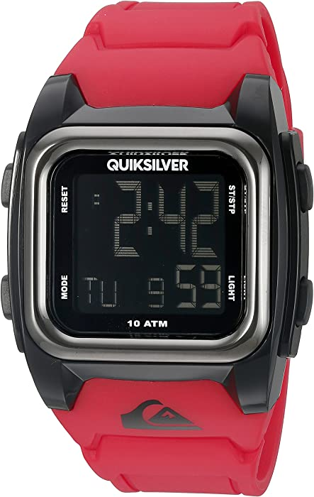 Quiksilver The Grom Reloj de Cuarzo con Pantalla Digital LCD, Correa de Silicona roja Cuadrada