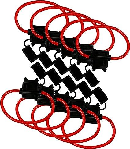 10 Pack ATC//ATO 16 Gauge 25 AMP Vehicles Car In-Line Fuse Holder for Blade Fuses