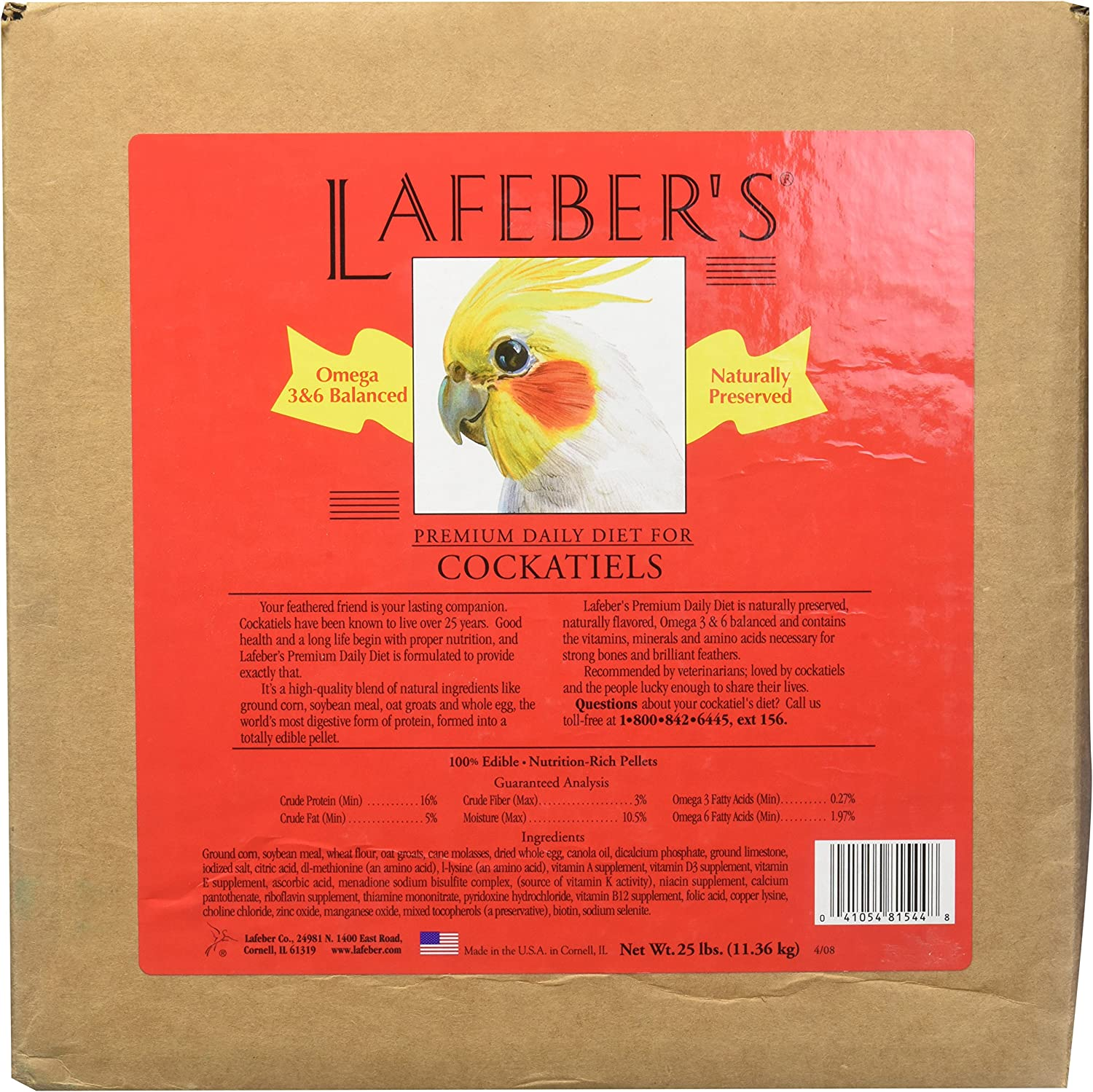 LAFEBER'S Premium Daily Diet Pellets Pet Bird Food, Made with Non-GMO and Human-Grade Ingredients, for Cockatiels, 25 lb
