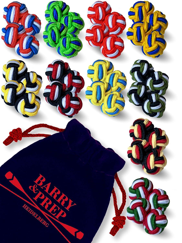 10 Paare runde Seidenknoten Manschettenknöpfe im Set zu Hemd oder Bluse für Herren & Damen | zweifarbig & dreifarbig in rot, blau, grün, gelb, orange grün Barry & Prep