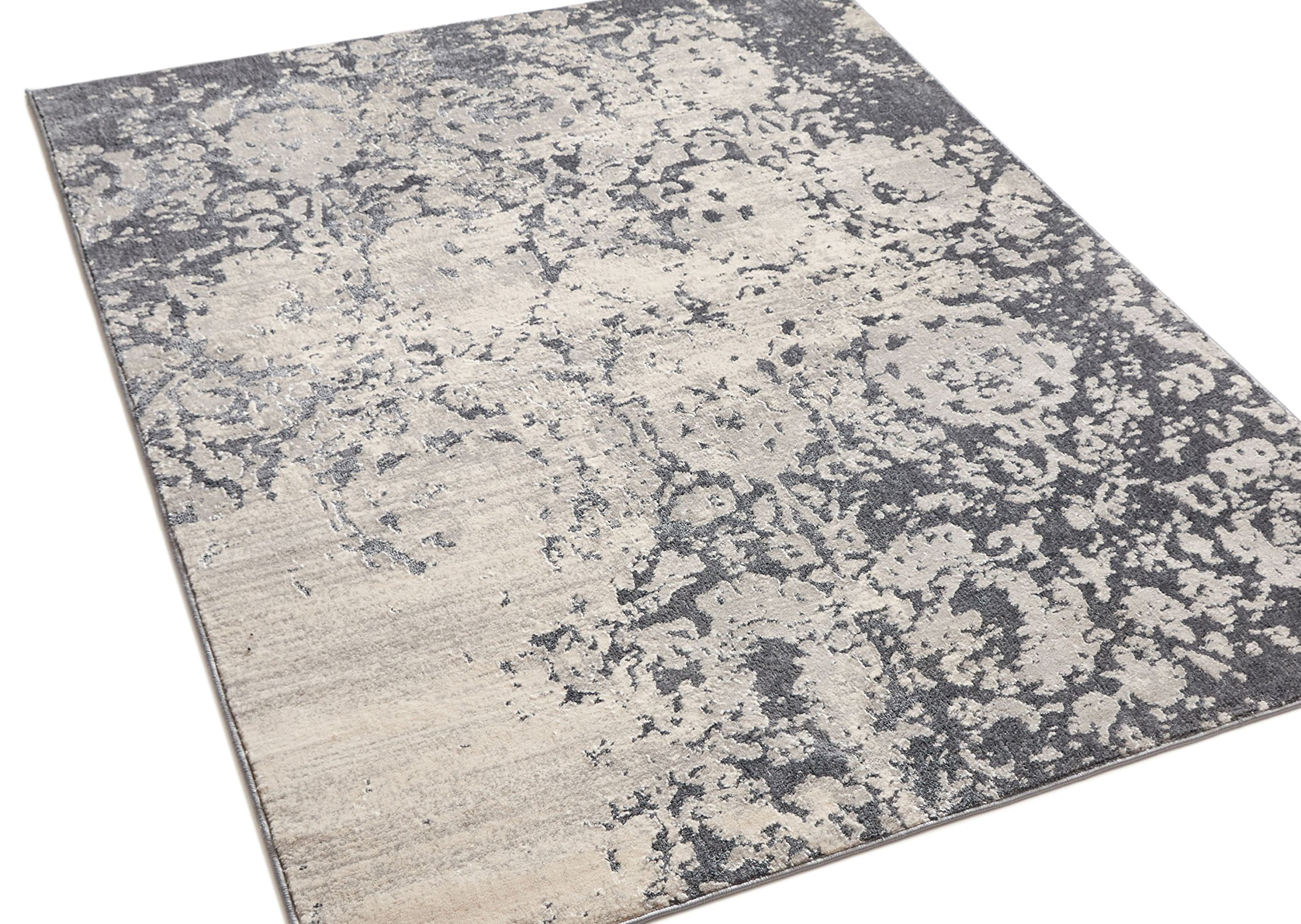 Forte Grey Microfiber High-Low Pile Vintage Abstract Erased Floral 8x10 (7'10'' x 9'10'') Area Rug Modern Oriental Carpet by Well Woven (Image #5)