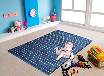 The Home Talk Cotton Rug for Bedroom, Nursery, Play Room (30x40 Inches, Blue)