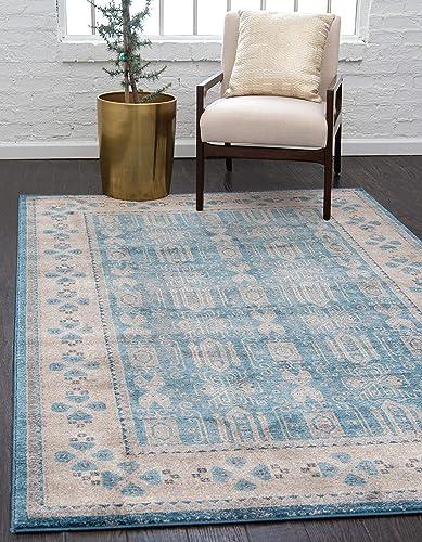 Unique Loom Salzburg Collection Traditional Oriental Light Blue Area Rug 8' 0 x 10' 0