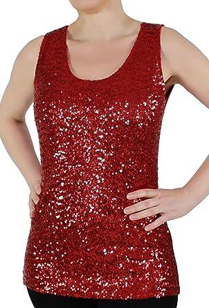 nam-mao Rotes Damen Pailletten-Shirt Gr. 36 38 Paillettentop Rot Party  Stretch 45e04a7a9a