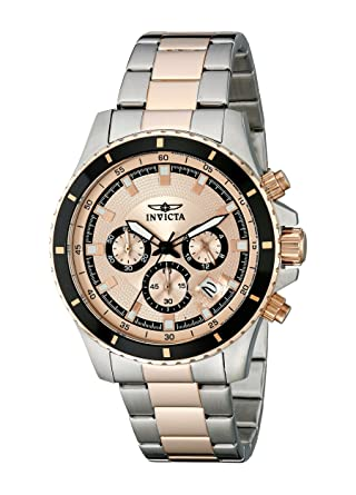 amazon com invicta men s 12457 pro diver chronograph rose tone invicta men s 12457 pro diver chronograph rose tone textured dial stainless steel watch