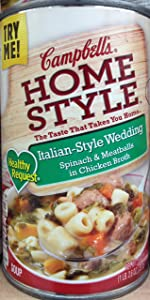 Campbell's Homestyle Healthy Request Italian-Style Wedding Spinach & Meatballs in Chicken Broth Soup 18.6oz. Can (Pack of 5)