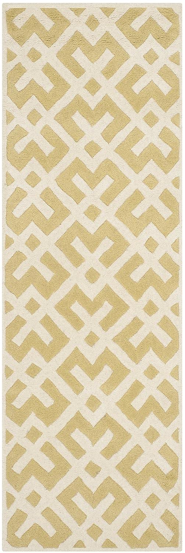 Safavieh Geometrisch gemusterter Teppich, CHT719, Gewebter Polyester Läufer, Hell Gold/Elfenbein, 68 X 213 cm