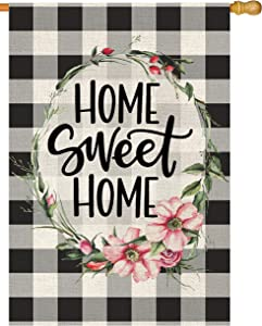 Atenia Home Sweet Home Burlap Garden Flag, Double Sided Country Garden Outdoor Yard Flags for Summer Decor (House Size - 28X40)