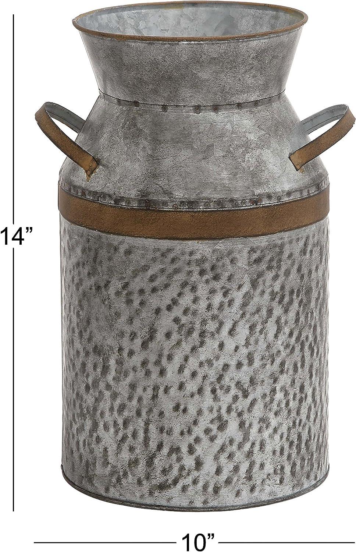 7 L x 5.5 W x 9 H Deco 79 Metal Galvanized Milk CAN