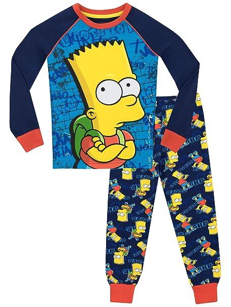Los Simpson - Pijama para Niños - Bart Simpson - Ajuste Ceñido - 10 - 11