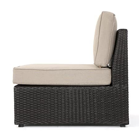 Christopher Knight Home (GDF Studio) Santa Cruz Outdoor Dark Brown Wicker Armless Sectional Sofa Seat with Beige Water Resistant Cushions (Set of 2)