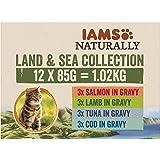 Iams Naturally, Cibo Umido per Gatti Adulti, 1-6 Anni, Sapori di Terra e di Mare, 1.02 kg