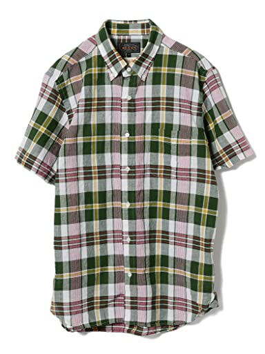 Short Sleeve Madras Buttondown Shirt 11-01-0736-139: Green