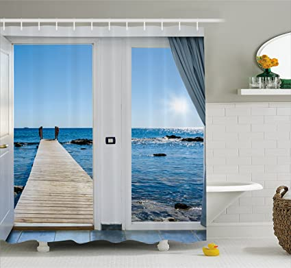 Ambesonne Beach Theme Decor Shower Curtain Coastal Ocean Sea Sunny Scenery With Patio From