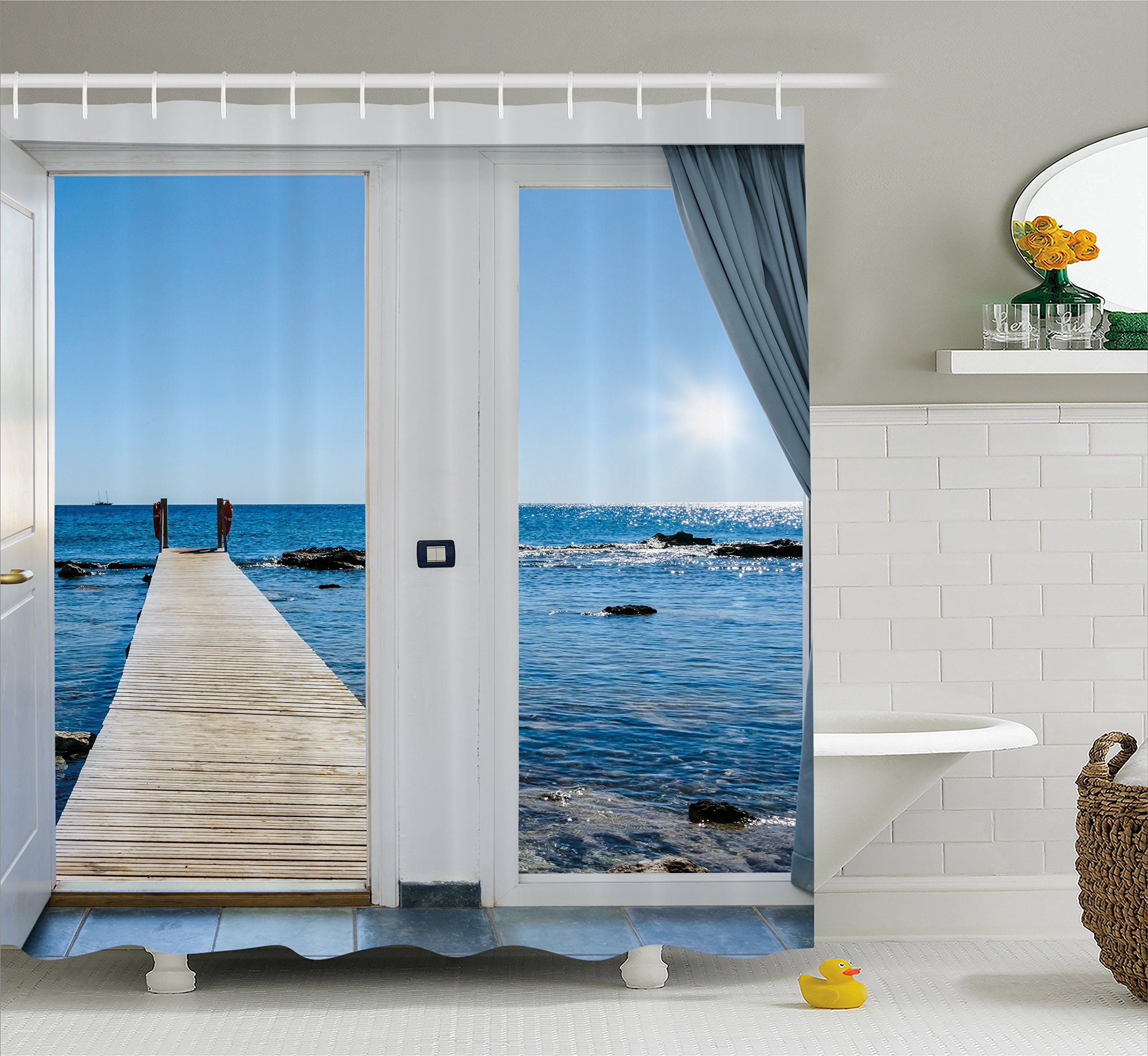 Ambesonne Beach Theme Decor Shower Curtain, Coastal Decor Ocean Sea Sunny Scenery with Patio from Window, Fabric Bathroom Decor Set with Hooks, 75 Inches Long, Light Blue and White