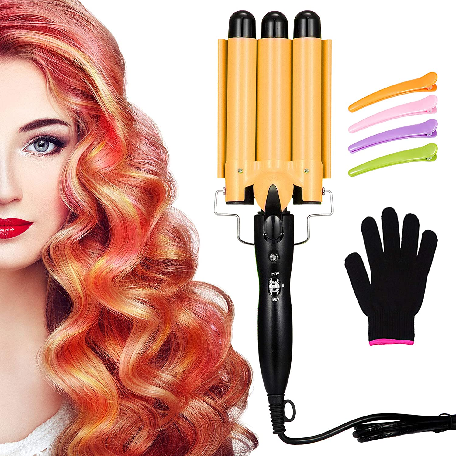 3 Barrel Curling Iron Wand Hair Waver Iron Ceramic Tourmaline Hair Crimper with 4 Pieces Hair Clips and Heat Resistant Glove, Curling Waver Iron Heating Styling Tools (Yellow)