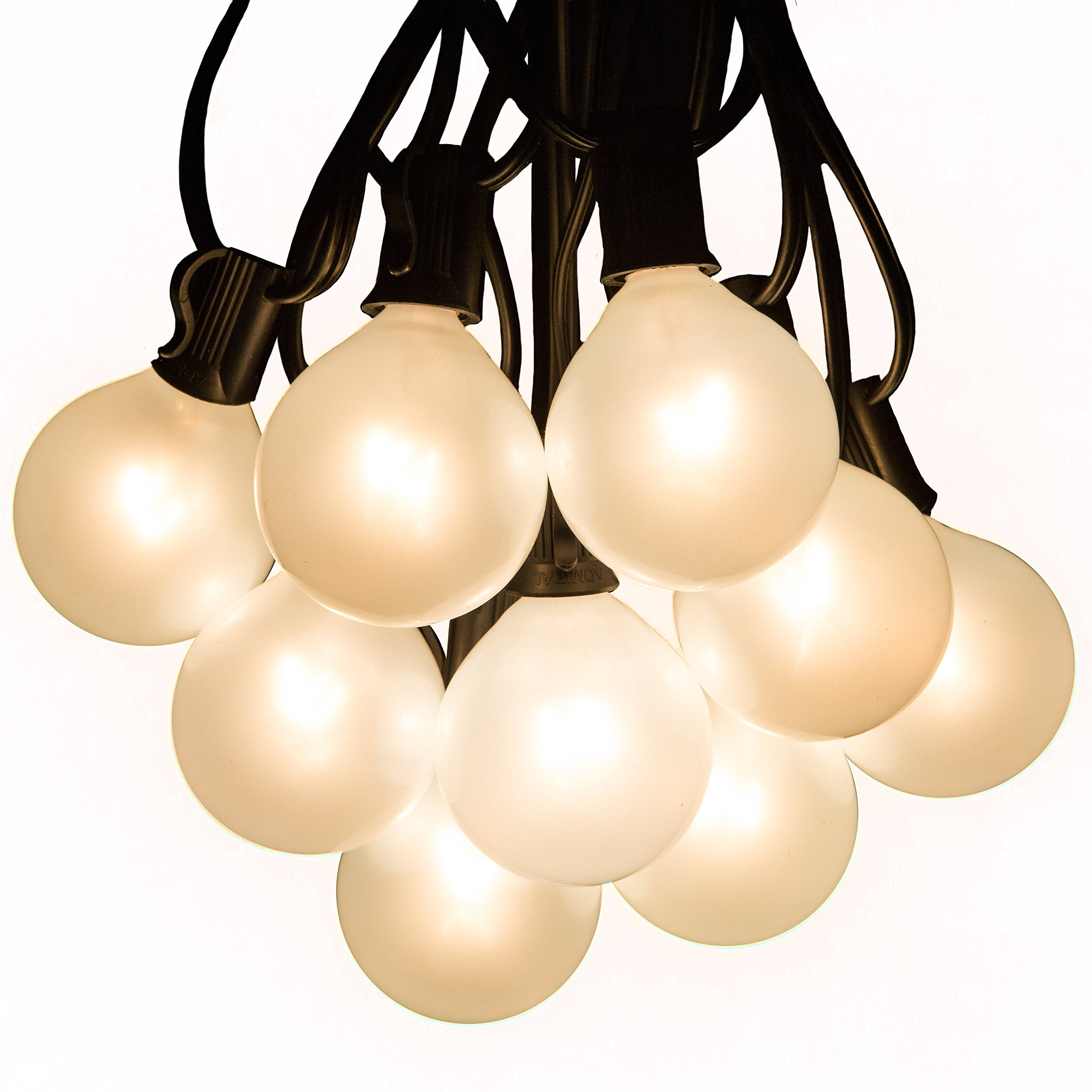 100 Foot Outdoor Globe Patio String Lights - Set of 100 G50 White Pearl 2 Inch Bulbs with Black Cord