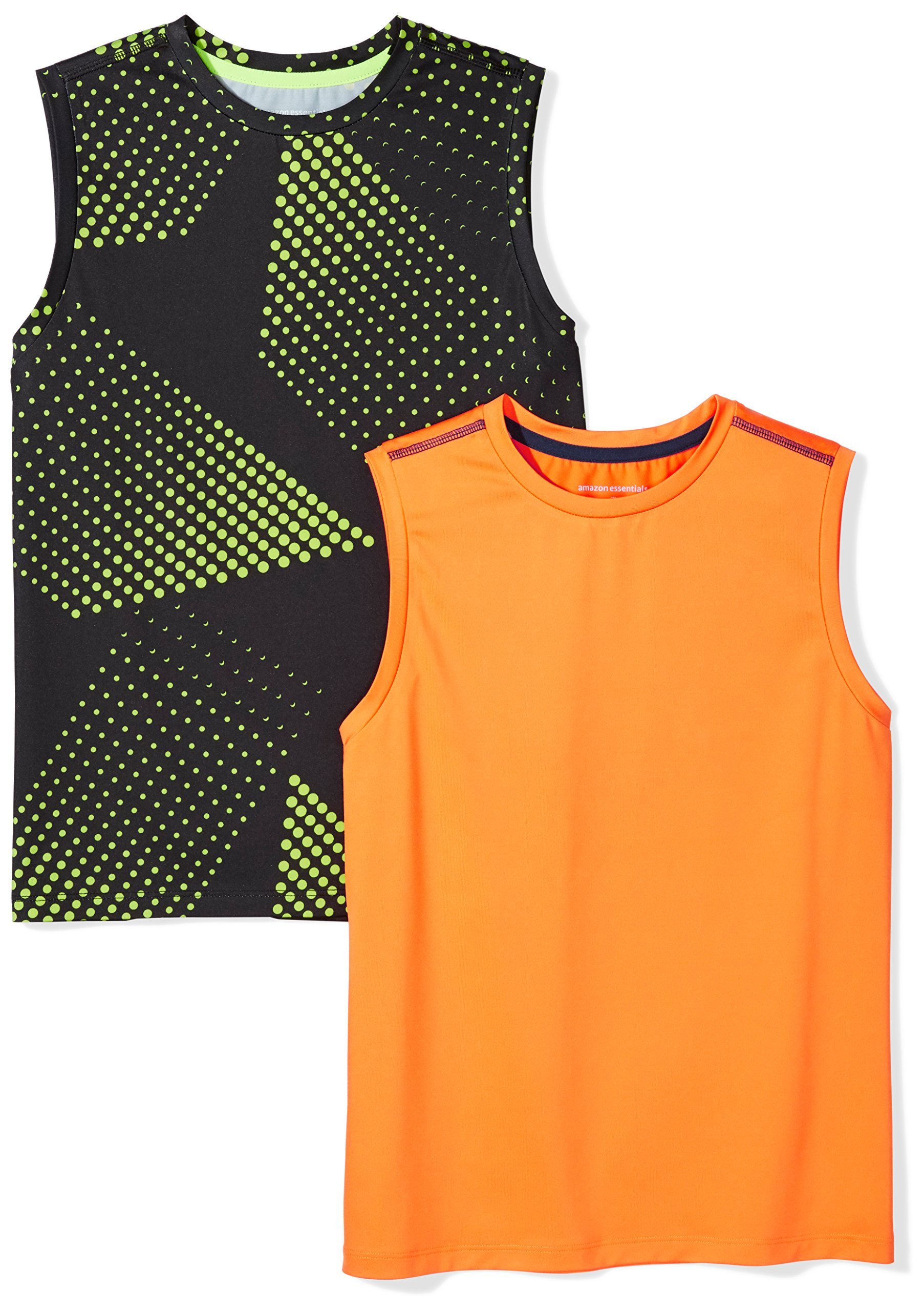 Amazon Essentials Boys' 2-Pack Active Muscle Tank, Gradient/Orange, M by Amazon Essentials (Image #1)