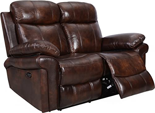Oliver Pierce Hudson Reclining Leather Loveseat, Brown