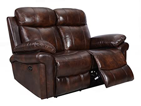 Oliver Pierce OP0035 Hudson Reclining Leather Loveseat, Brown