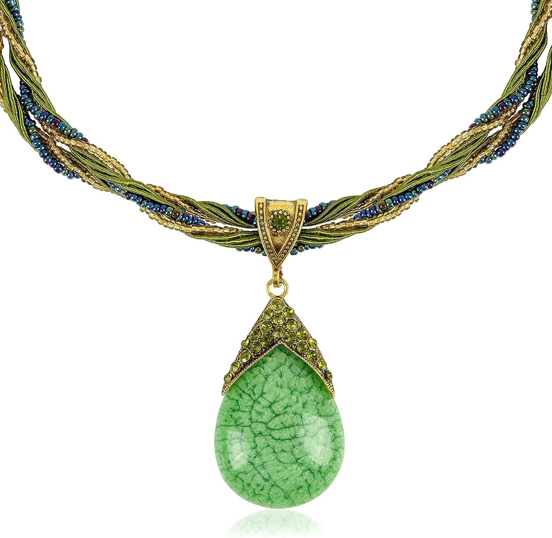 Hecho a mano retro antiguo sueño Tear Drop Necklace , Vintage Bisutería disponible en tres colores - verde , crema y turquesa / regalo perfecto