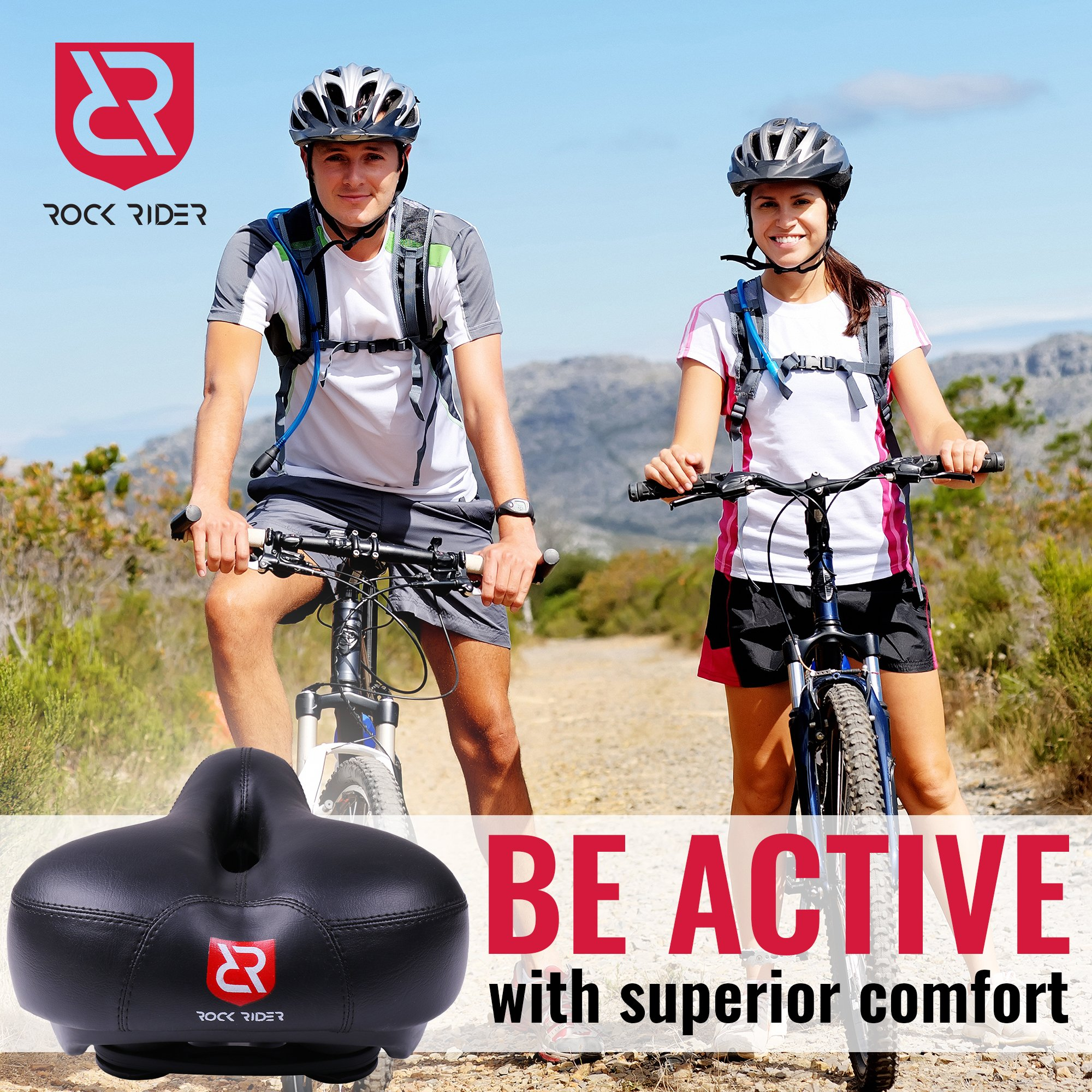 Rock Rider Extremely Comfortable Bicycle Seat Women Man Comfort Healthy Gel Bike Saddle Padded Wide Seat Cover (Black) by Rock Rider (Image #2)