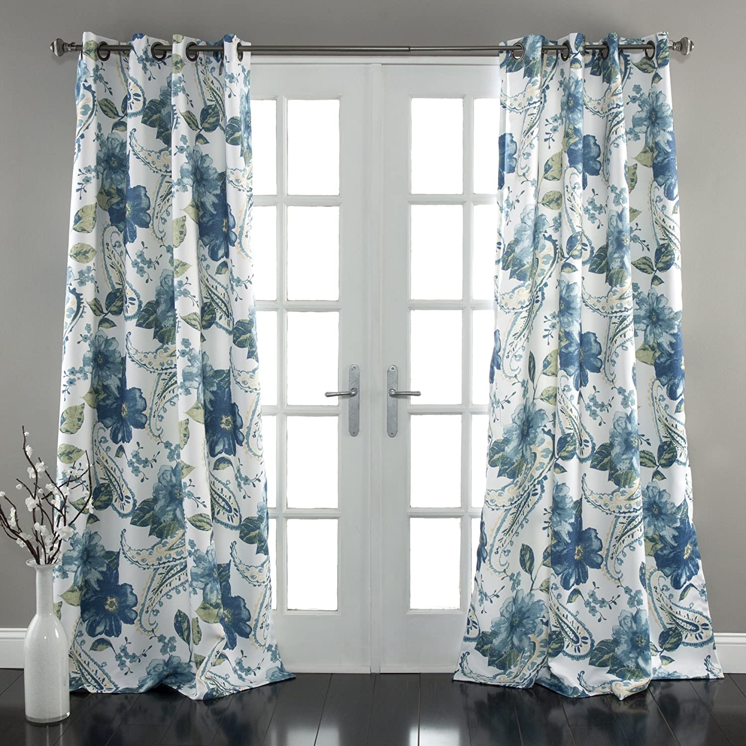 Blue Lush Decor Floral Paisley Window Curtain Panel