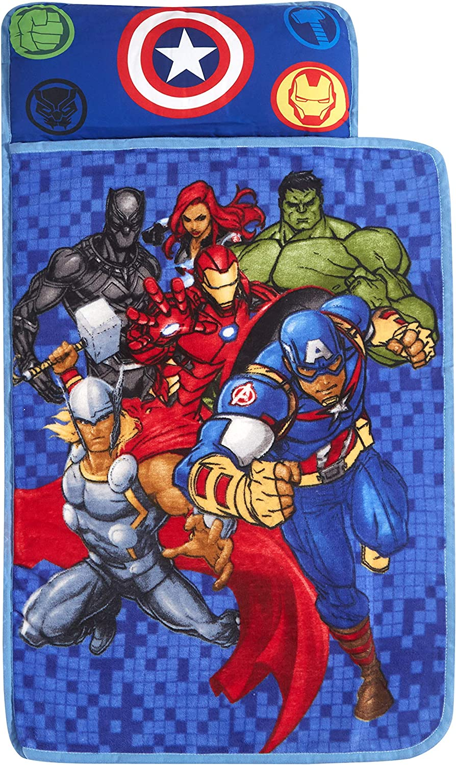 Idea Nuova Marvel Avengers Super Soft Toddler Quilted Nap Mat with Built in Pillow,26