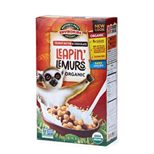 Nature's Path EnviroKidz Peanut Butter & Chocolate Leapin' Lemurs Cereal, Healthy, Organic, Gluten-Free, 10 Oz