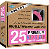 Closet Complete Kids Size, Premium Heavyweight, Virtually-UNBREAKABLE, Velvet Hangers – Ultra-Thin, Space Saving, No-Slip, 360º Spin, Perfectly Sized For Kids 4-15 years, Pink, Set of 25