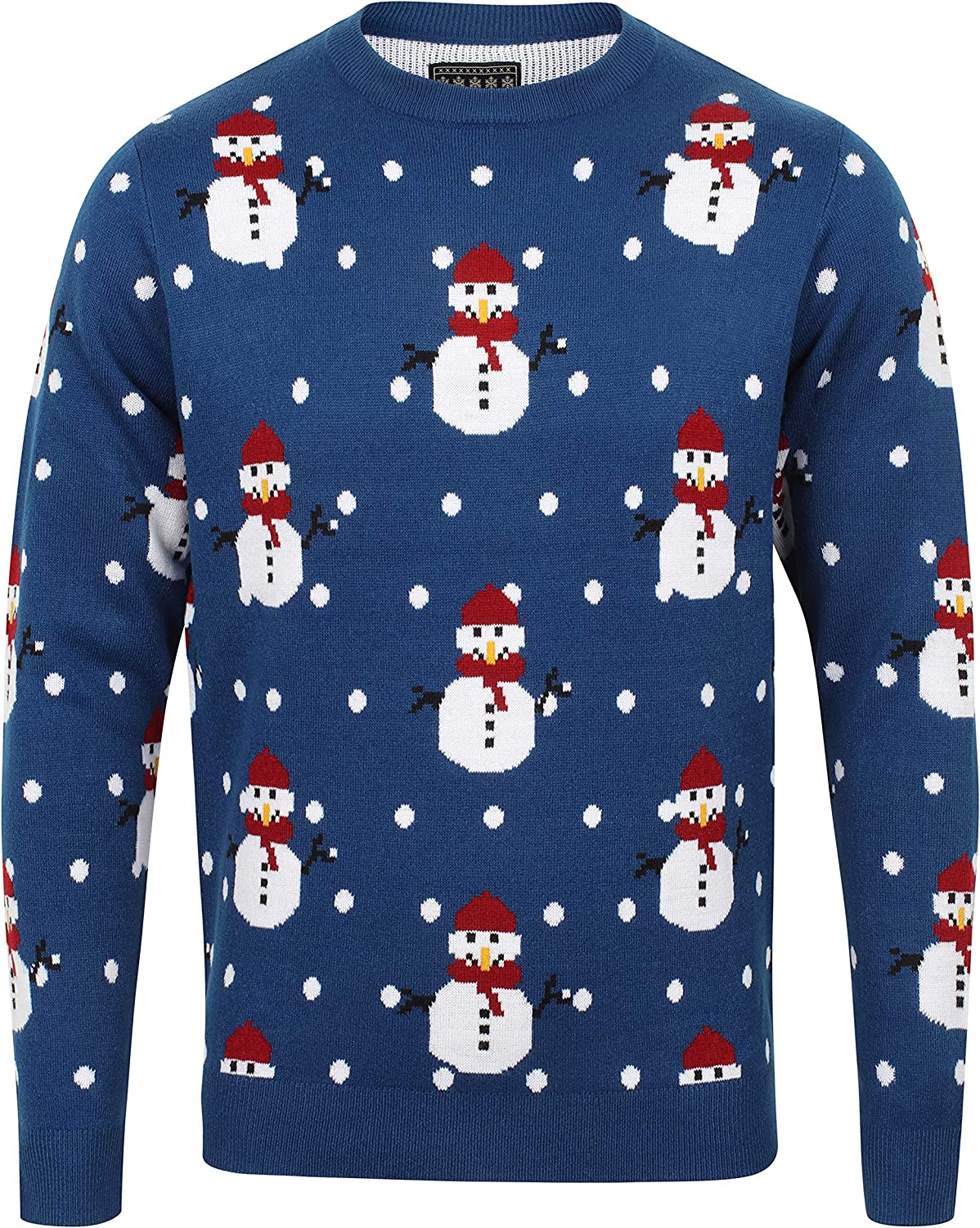 Seasons Greetings Adults Snowman Knitted Christmas Jumper//Sweater
